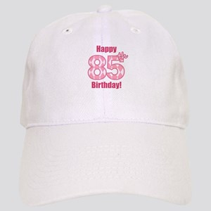 Happy 85th Birthday - Pink Argyle Baseball Cap