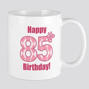 Happy 85th Birthday - Pink Argyle Mug