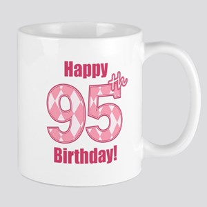 Happy 95th Birthday - Pink Argyle Mug