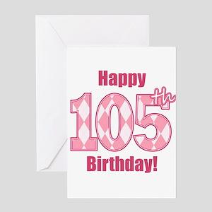 Happy 105th Birthday - Pink Argyle Greeting Card