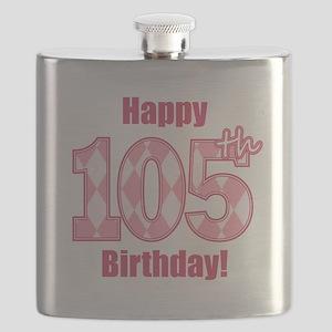 Happy 105th Birthday - Pink Argyle Flask