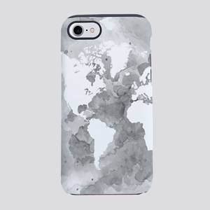 Design 49 World Map Grayscale iPhone 7 Tough Case