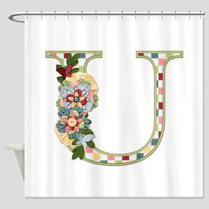 Monogram Letter U Shower Curtain