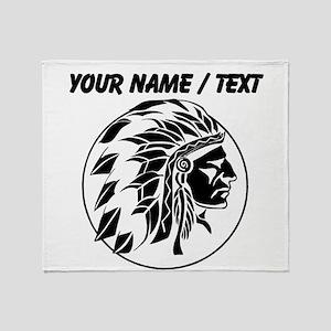 Custom Native American Headdress Throw Blanket