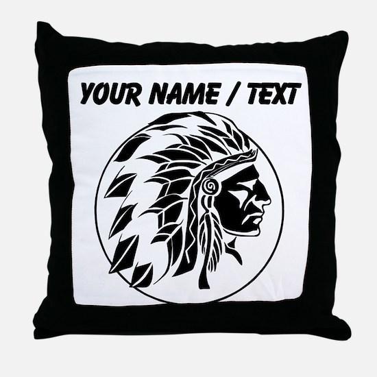 Custom Native American Headdress Throw Pillow