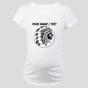 Custom Native American Headdress Maternity T-Shirt