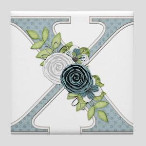 Monogram Letter X Tile Coaster