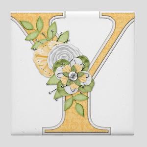 Monogram Letter Y Tile Coaster
