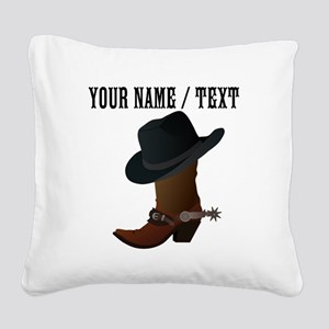 Custom Cowboy Boot And Hat Square Canvas Pillow