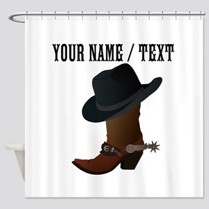 Custom Cowboy Boot And Hat Shower Curtain