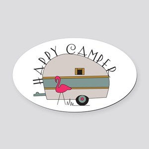 Happy Camper Oval Car Magnet