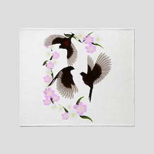 Three Sparrows Trans Throw Blanket