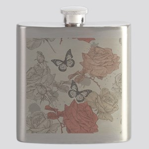 Vintage Shabby Chic Roses and Butterflies Flask