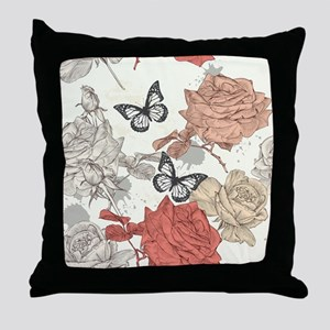 Vintage Shabby Chic Roses and Butterf Throw Pillow