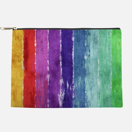 Geometric Stripes Watercolor Makeup Bag