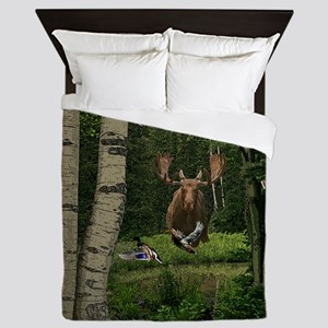 Bull moose and ducks Queen Duvet