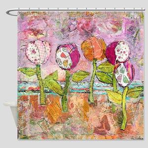 Joyful Tulips Bathroom Shower Curtain
