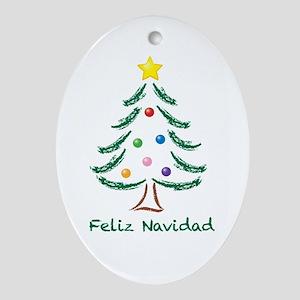 Feliz Navidad Tree Oval Ornament