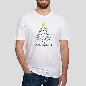 Feliz Navidad Tree Fitted T-Shirt