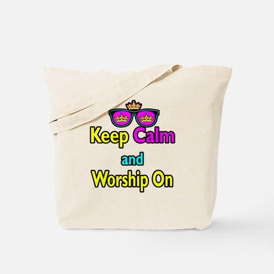 Crown Sunglasses Keep Calm And Worship On Tote Bag