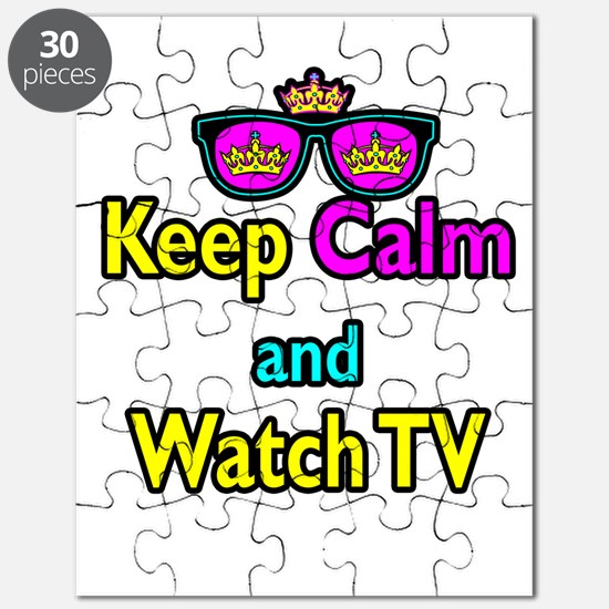 Crown Sunglasses Keep Calm And Watch TV Puzzle