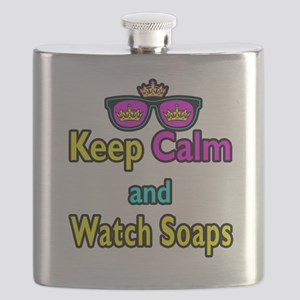 Crown Sunglasses Keep Calm And Watch Soaps Flask