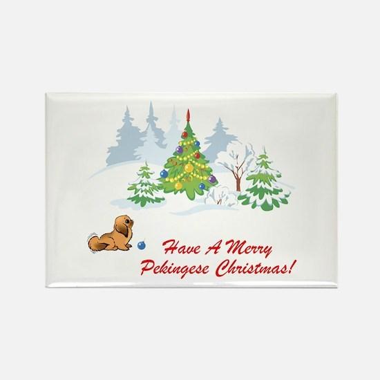 Merry Pekingese Christmas Rectangle Magnet