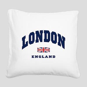 London England Union Jack Square Canvas Pillow
