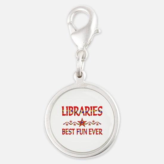 Libraries Best Fun Silver Round Charm