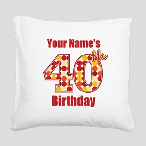 Happy 40th Birthday - Personalized! Square Canvas