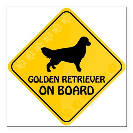 "Golden On Board Square Car Magnet 3"" x 3"""