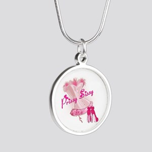 Prissy Sissy Corset Silver Round Necklace