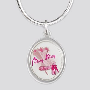 Prissy Sissy Corset Silver Oval Necklace