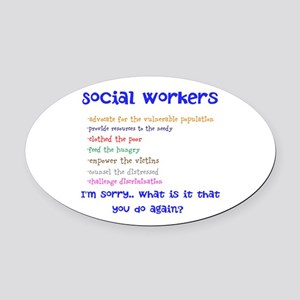 Social Work Oval Car Magnet
