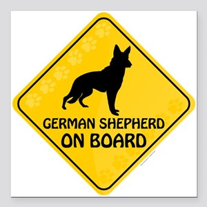 "German Shepherd On Board Square Car Magnet 3"" x 3"""