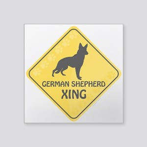 "German Shepherd Xing Square Sticker 3"" x 3"""