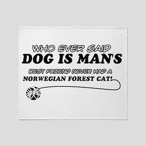Norwegian Forest Cat designs Throw Blanket