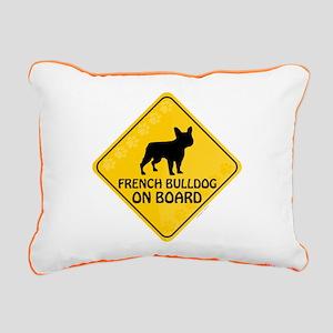 French Bulldog On Board Rectangular Canvas Pillow