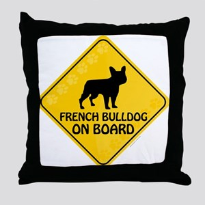 French Bulldog On Board Throw Pillow