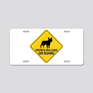 French Bulldog On Board Aluminum License Plate