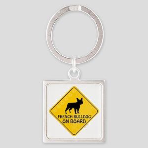 French Bulldog On Board Square Keychain