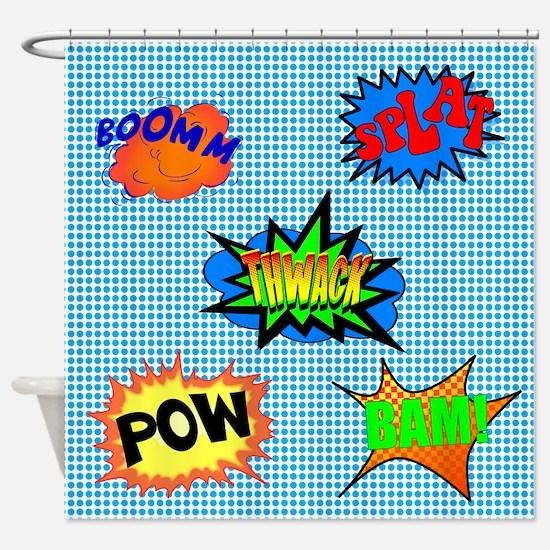 POW! Superhero Shower Curtain