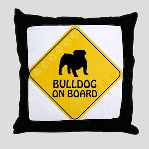 Bulldog On Board Throw Pillow