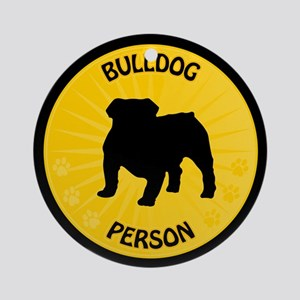 Bulldog Person Ornament (Round)