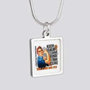 Rosie Keep Calm Leukemia Silver Square Necklace