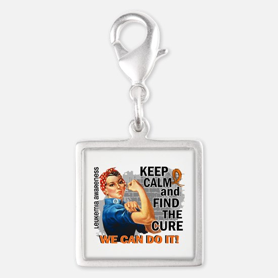 Rosie Keep Calm Leukemia Silver Square Charm