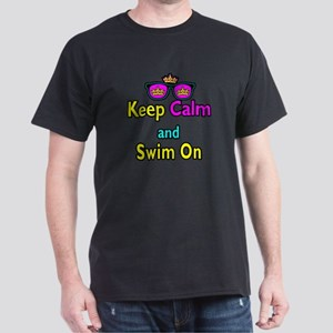 Crown Sunglasses Keep Calm And Swim On Dark T-Shir
