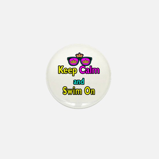 Crown Sunglasses Keep Calm And Swim On Mini Button