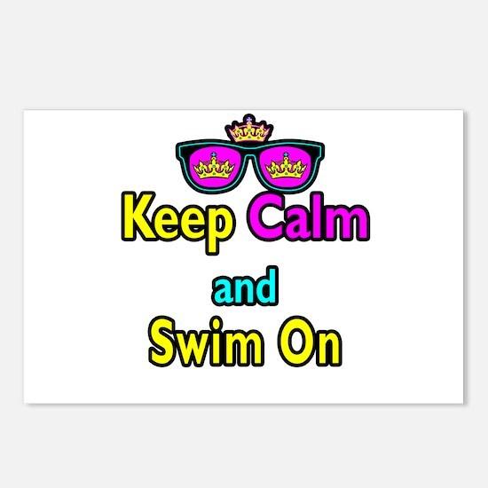 Crown Sunglasses Keep Calm And Swim On Postcards (