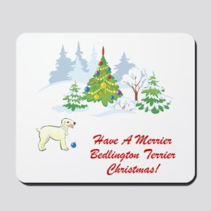 Bedlington Terrier Christmas Mousepad